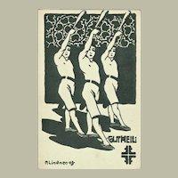 Art Nouveau Vintage Postcard with Athletes
