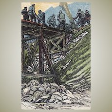 Art Deco Litho Postcard. Soldiers and Railway.