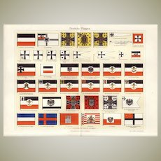 German Flags: Litho. 41 different Samples. 1900