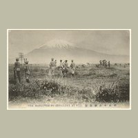 Old Japan: Vintage Postcard Manoeuvre at Mount Fuji