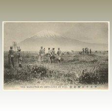 Old Japan: Vintage Postcard Manoeuvre at Mount Fuji