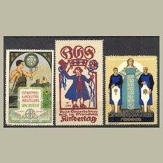 3 decorative Art Nouveau Vignettes