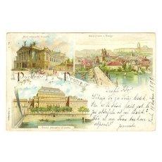 Old Prague: Vintage Color Postcard 1898