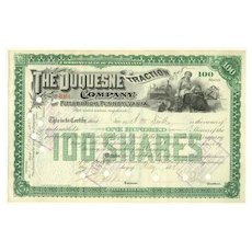 The Duquesne Traction Company Antique Stock Certificate from 1891