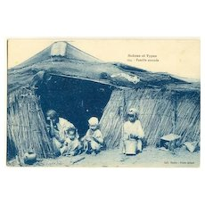 Nomadic People. Vintage Postcard depicting Nomads in a Tent