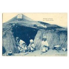 Nomadic People. Vintage Postcard depicting Nomads in a Tent