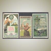 3 Art Nouveau Labels related to Exhibition. Lithos.