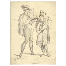19th Century: Gypsies. Lithograph by Trentsensky, 9 x 14 in.