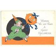 Old Halloween Postcard. Clown and Pumpkin. 1922