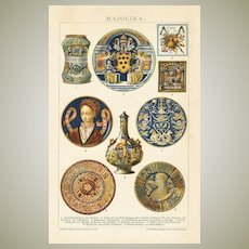 1898: Majolica : Decorative, antique Chromo Lithograph