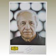 Pierre Boulez Autograph. Hand signed Postcard. CoA