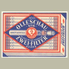 1938: Trading Card Filter Cigarette Producer with Calender.