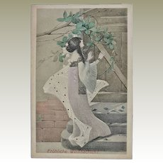 Art Nouveau Xmas Postcard by Hruby