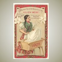 1904: Vintage Calender with Decorative Advertising for Fabrics.