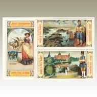3 Art Nouveau Trading Cards of Austrian Company. Ca. 1910