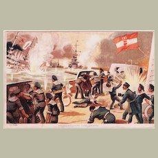 Heroic Battle of the Zenta. Austrian Cruiser WW1. Vintage Postcard