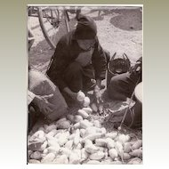 Old Chinese Photo: Peasant selling Potatoes