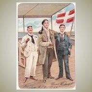 1899: Decorative Postcard of 3 Sailors. Chromo Lithograph.