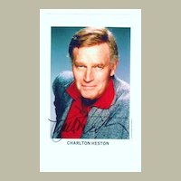 Charlton Heston Autograph from the 1970s, CoA