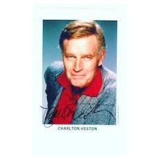 Charlton Heston Autograph from the 1970s, CoA