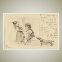 Funny old Postcard with Dachshund, 1902