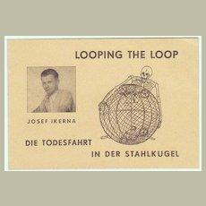 Looping the Loop - Globe of Speed Stunt : Old Advertising Print