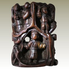 Chinese Netsuke: Wooden Toggle with Journey to the West Scene.