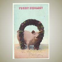 New Year Postcard with Pig and Horseshoe, 1908