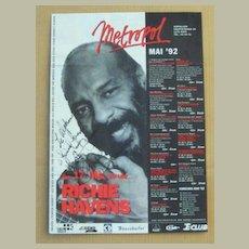 Richie Havens Autograph: Signed Poster, Austrian Concert. CoA