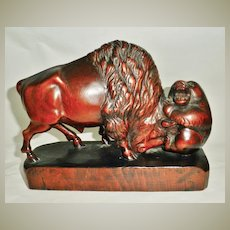 Art Nouveau Sculpture by Marie Louise Sarre. Historical Importance. Bull and Bear.