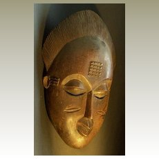 Old African Mask: Baoule Tribe, Ivory Coast. Authentic.