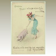 Art Nouveau Postcard: Lady with Pig. New Year