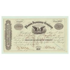 Phoenix Insurance Company. Decorative Stock Certificate from 1858