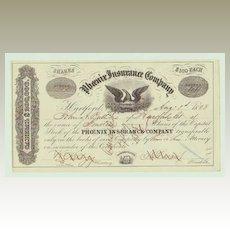 Phoenix Insurance Company. Decorative Stock Certificate from 1858