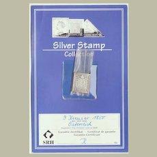 Silver Stamp: Austria 9 Kreuzer. CoA