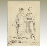 Antique Etching from ca. 1830 with Polish Couple