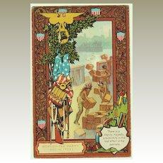Embossed Patriotic Postcard with Indians. 1906