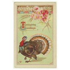 Thanksgiving Greetings. Vintage Postcard with Turkey.