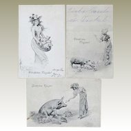 3 Art Nouveau Postcards: Happy New Year. Ladies and Pigs.