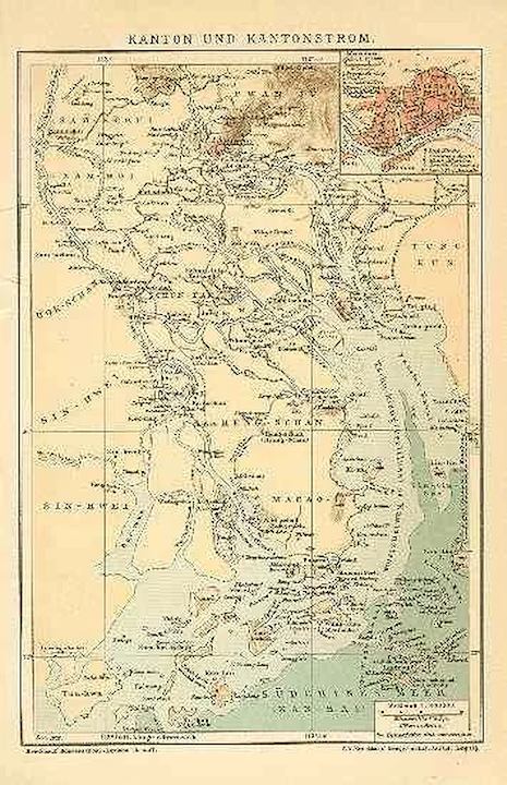 Old China: Canton and Canton-River. Antique Map : Collect at ... on