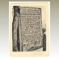 Old etching: Stele with Israel Horowitz text. Artist Signed