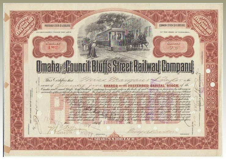 Antique Stock Certificate Omaha And Council Bluffs Street Railway