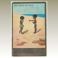 The Dawn of Love. Cute Vintage Postcard.