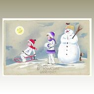 Merry Xmas: Vintage Postcard Kids and Snowman
