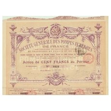 1899: Antique French Funeral Parlor Stock Certificate.