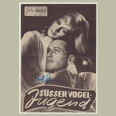 Paul Newman Autograph on Movie Program. CoA