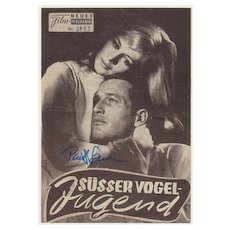 Paul Newman Autograph on Movie Program. CoA