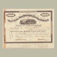 Green & Coates Street Philadelphia Passenger Railway Stock Certificate from 1863