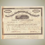 Green & Coates Street Philadelphia Passenger Railway Stock Certificate from 1863