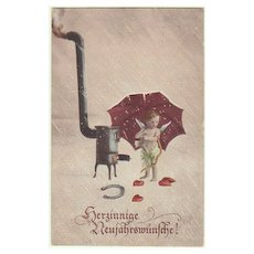 Happy New Year: Cupid and Stove. 1920.